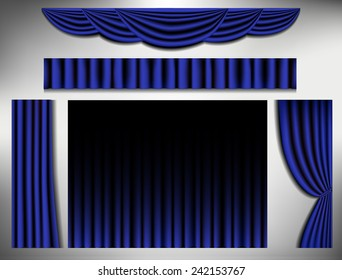 set of navy blue curtain, vector illustration.