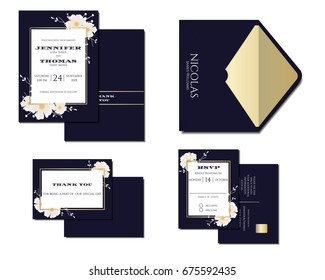 Set of Navy Blue Wedding Invitation Card Decoration with flowers and Gold line. Vector/Illustration