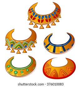 Set necklace in the Egyptian style. Vector illustration.