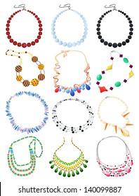 Set of necklaces isolated on white background