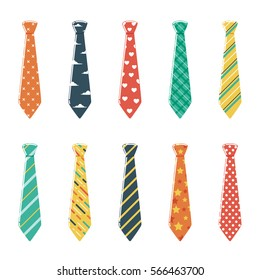 Set of Neckties with Different Colors and Patterns