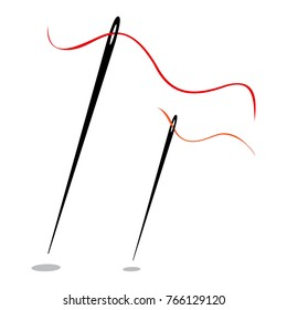 Set of needles with thread. Vector illustration