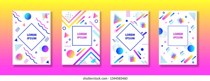 Set of neo memphis style covers. Collection of cool bright covers. Abstract geometric art for covers, banners, flyers and posters. Vector.