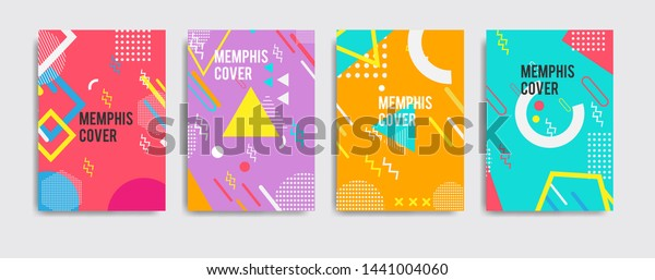 Set Neo Memphis Style Covers Abstract Stock Image Download Now