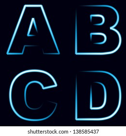 set of neon alphabet letters in silhouettes isolated on black background, modern vector concept