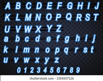 Set of  neon blue light text graphic vector