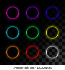 Set of neon circles on transperent background. Vector.