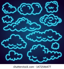 Set of neon clouds. Symbols in the sky for web site design, UI, app. Meteorology and atmosphere in space. Night bright signboard, Glowing light banner. Summer logo, emblem. Editable vector.