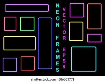 Set of neon colored frames. Vintage electric signboard with bright neon lights isolated on a black background.  Square Border. Vector Illustration EPS8