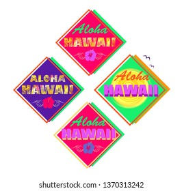 Set of neon colorful summery print with Aloha Hawaii lettering, palm leaves, hibiscus and sun for T shirt, labels, tag, bag