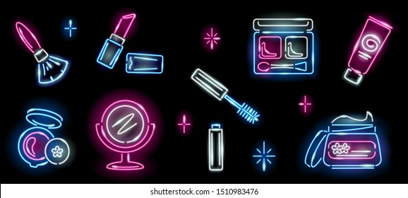 Set of neon cosmetics icons on black background: lipstick, brush, mirror, mascara, jar of cream, eyeshadow. Makeup, beauty, girly, woman concept. Night signboard style. Vector 10 EPS illustration.