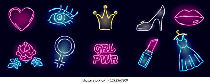 Set of neon girly icons on dark background. Girl power, fashion or feminism elements of design: heart, eye, rose, venus mirror, crown, heel, lips, dress, lipstick. Vector 10 EPS illustration.