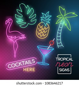 A set of neon glowing light signs with a flamingo, cocktail and palm tree. Vector illustration.