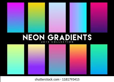 Set of neon gradients 2019 design