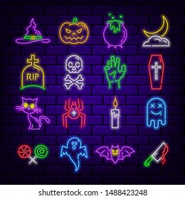 Set of neon Halloween themed icons on a dark brick background. Editable stroke and blend. Vector illustration.