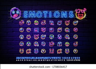 Set of neon happy and angry emoticons, April fools ' Day. Vector silhouette of a neon pair of cute, discontented emoticons, consisting of contours, illuminated on a dark background with text.
