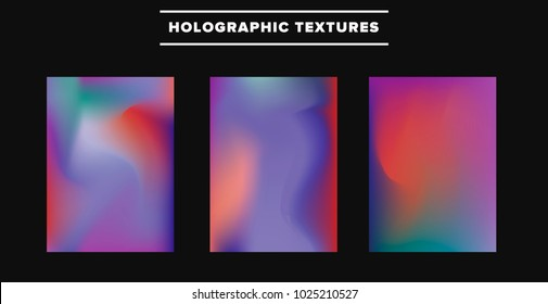 Set of neon holographic background.