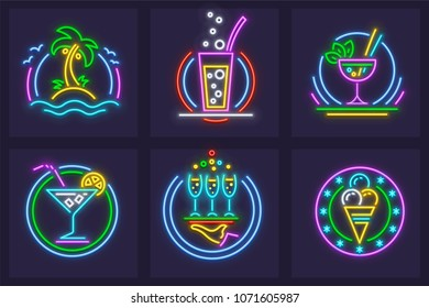 Set of Neon Icons. Beach cocktails tequila, wine, and mojito in glass goblets, ice cream, palms and sea made of neon lamps with illumination. EPS10 vector illustration.