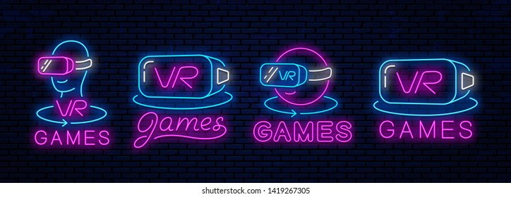 Set of neon icons of virtual reality. Vector bright neon icons, signs, symbols, signboards to decorate gaming clubs of virtual reality.