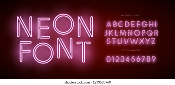 Set of neon letters and numbers. Type for Modern Neon logo, Night light Emblem, Bar and Casino logotype. Isolated Vector Font. Alphabet on dark background