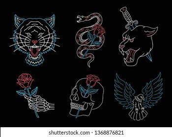 Set of neon light animals, skulls and roses. tiger, panther, snake and eagle vector illustration.