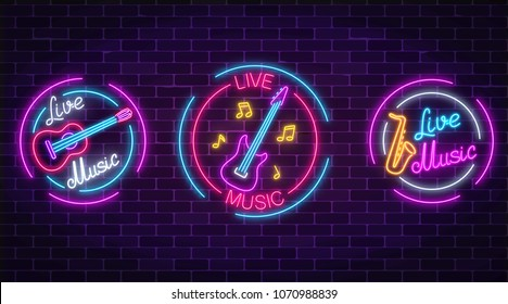 Set of neon live music symbols with circle frames. Three live music signs with guitar, saxophone, notes.
