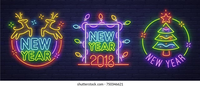 Set neon logo, label, emblem. Happy New Year and Merry Christmas. Neon sign, bright signboard, light banner.