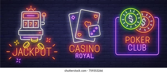 Set neon logo, label, emblem. Casino and Poker. Neon sign, bright signboard, light banner.