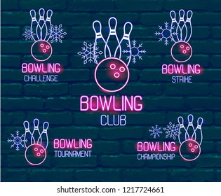 Set of neon logos in pink-blue colors with skittles, bowling ball, snowflakes. Collection of 5 vector signs for winter bowling tournament, challenge, championship, strike, club against dark brick wall