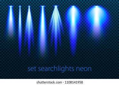 Set of neon searchlights on a transparent background. Bright lighting with spotlights. The searchlight is blue. vector illustration art