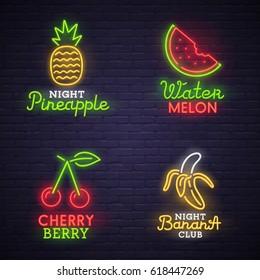 Set neon sign. bright signboard, light banner. Neon logo, emblem. Fruit neon