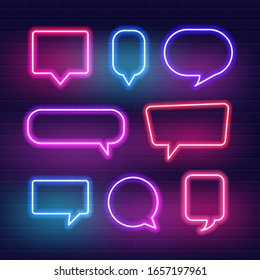Set of neon sign speech bubble. Vector illustration.