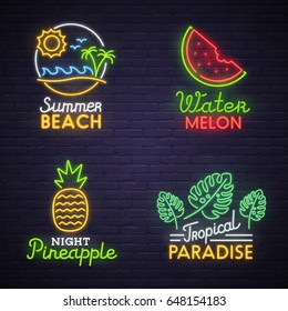 Set neon sign theme summer. bright signboard, light banner. Summer logo, emblem.