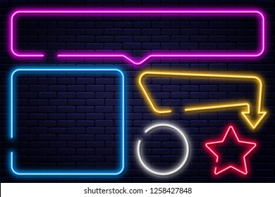 Set of neon signs, arrow, rectangle, square, circle and star. Neon light frame, glowing bulb banner on brick wall background. Vector