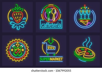 Set of neon signs icons. Signboards for cafe, restaurant, bar, supermarket and pizzeria. EPS10 vector illustration.