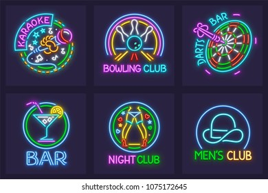 Set of neon signs for nighttime entertainment facilities. Karaoke bar, Bowling Club, darts, striptease and mens club. EPS10 vector illustration.