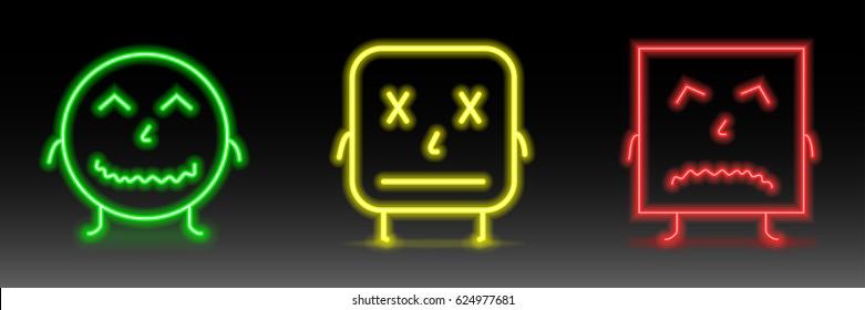 Set of neon smile emoticons. Line icons. Happy, pocker face, and unhappy smileys. Emoji set.