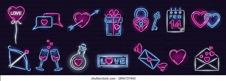 Set of neon Valentine icons on dark brick wall background: heart with arrow, letter, chat, gift box, heartshape balloon, intertwined hearts. Love, romance, wedding concept. Vector 10 EPS illustration.