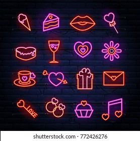 Set of neon Valentines atributes with sparkles. Can be used on flyers, banners, card, projects. Ice cream, cake, lips, lollipop, heart, flower, coffee, gift, key.