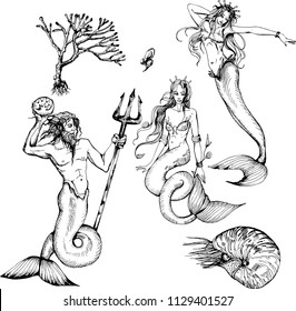 Set with Neptune, mermaids, nautilus and coral. Vector ink illustration. Black and white.