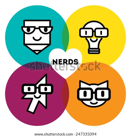 99d4659a0360 Set Nerd Icons Glasses Funny Faces Stock Vector (Royalty Free ...