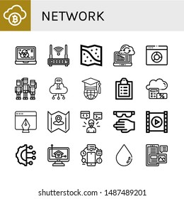 Set of network icons such as Bitcoin, Data, Router, Space map, Syncronization, Browser, Team, Cloud, World, Medical record, Tablet, Map, Programmer, Protective, Video player , network