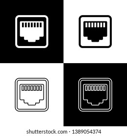 Set Network port - cable socket icons isolated on black and white background. LAN, ethernet port sign. Local area connector icon. Line, outline and linear icon. Vector Illustration
