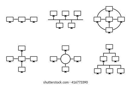 Set of network topology internet connection vector illustration