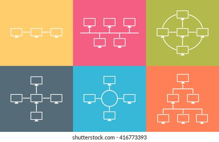 Set of network topology internet connection vector illustration flat design