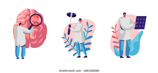 Set of Neurology Disease Diagnostics and Treatment. Doctor Neurologist Character Examine Huge Human Brain and X-ray Head Tomography Scan. Nurse with Medical Hammer. Cartoon People Vector Illustration