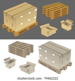 set of new cardboard boxes and wood pallets. vector illustration