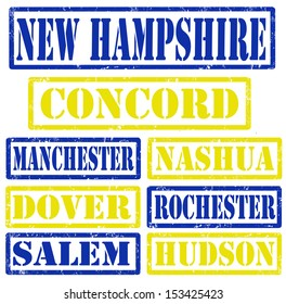 Set of New Hampshire cities stamps on white background, vector illustration