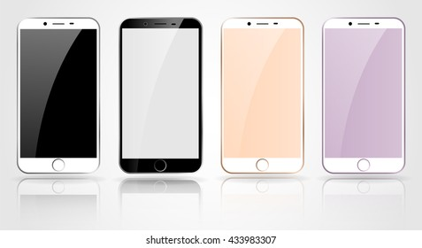 Set of new realistic smartphone collection mockups with blank screen isolated. Vector illustration smartphones. Cellphone for printing and web. cell phone New color