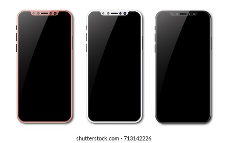 Set of new smartphone design isolated. Mobile phone mockup. Vector illustration